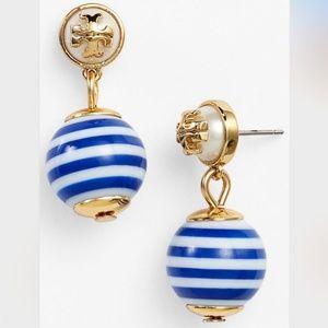 Tory Burch earrings logo navy pendant earrings